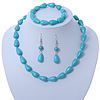 Turquoise Bead Necklce, Drop Earrings & Flex Bracelet - 40cm Length