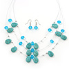 Turquoise & Crystal Floating Bead Necklace & Drop Earring Set - 52cm Length/ 6cm extension