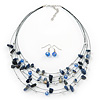 Blue/White Semiprecious Stone & Silver Metal Bead Multistrand Necklace & Drop Earrings Set - 50cm Length/ 5cm Extension