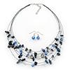 Blue/White Semiprecious Stone & Silver Metal Bead Multistrand Necklace & Drop Earrings Set - 50cm Length/ 5cm Extension