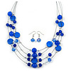 Blue Shell & Crystal Floating Bead Necklace & Drop Earring Set - 52cm L/ 5cm Ext