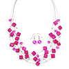 Fuchsia Square Shell & Crystal Floating Bead Necklace & Drop Earring Set - 52cm Length/ 6cm extension