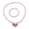 Children's Lavender/ White Imitation Pearl Bead Heart Flex Necklace & Flex Bracelet Set