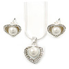 Delicate Crystal, Simulated Pearl 'Heart' Pendant With Silver Tone Snake Chain & Stud Earrings Set - 40cm Length/ 6cm Extension