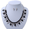 Crystal, Black Jewelled Stone, Velour Ribbon, Spike Necklace & Stud Earrings Set In Silver Tone - 44cm Length/ 6cm Exntension