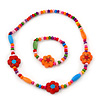 Children's Multicoloured Floral Wooden Flex Necklace & Flex Bracelet Set