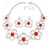 Light Silver Tone Coral Bead Floral Necklace & Drop Earrings Set - 38cm Length/ 7cm extender