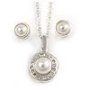 Classic Clear Austrian Crystal Simulated Button Pearl Pendant With Silver Tone Chain and Stud Earrings Set - 46cm L/ 5cm Ext - Gift Boxed