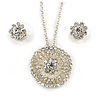 Clear Austrian Crystal Round Pendant With Silver Tone Chain and Floral Stud Earrings Set - 44cm L/ 5cm Ext - Gift Boxed