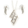 Clear Austrian Crystal Leaf Pendant With Gold Silver Chain and Stud Earrings Set - 40cm L/ 5cm Ext - Gift Boxed