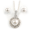 Classic Clear Austrian Crystal Simulated Pearl Pendant With Silver Tone Chain and Stud Earrings Set - 44cm L/ 5cm Ext - Gift Boxed