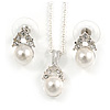 Clear Austrian Crystal Simulated Pearl Pendant With Silver Tone Chain and Stud Earrings Set - 44cm L/ 5cm Ext - Gift Boxed