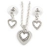 Clear Austrian Crystal Double Heart Pendant With Silver Tone Chain and Stud Earrings Set - 40cm L/ 5cm Ext - Gift Boxed