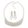 Bridal/ Wedding/ Prom Clear Austrian Crystal Collar Necklace And Drop Earrings Set In Silver Tone - 32cm L/ 7cm Ext