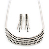 Bridal/ Wedding/ Prom Clear/ Black Austrian Crystal Collar Necklace And Drop Earrings Set In Silver Tone - 32cm L/ 7cm Ext