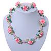 Rose Quartz, Turquoise Bead Fimo Rose Necklace And Flex Bracelet Set In Silver Tone - 40cm Length/ 5cm Extension