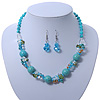 Turquoise, Crystal Bead Necklace & Drop Earrings In Silver Tone Metal - 40cm Length/ 4cm Length