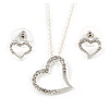 Clear Austrian Crystal Open Cut Heart Pendant With Silver Tone Chain and Stud Earrings Set - 46cm L/ 6cm Ext - Gift Boxed