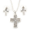 Clear Austrian Crystal Cross Pendant With Silver Tone Chain and Stud Earrings Set - 46cm L/ 5cm Ext - Gift Boxed