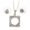 Clear Crystal Open Square Cut Pendant Silver Tone Chain and Stud Earrings Set - 45cm L/ 5cm Ext - Gift Boxed