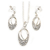Clear Crystal Open Oval Cut Pendant Silver Tone Chain and Drop Earrings Set - 45cm L/ 5cm Ext - Gift Boxed