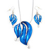 Blue Enamel Diamante 'Leaf' Necklace & Drop Earrings Set In Rhodium Plated Metal - 40cm Length/ 6 extension