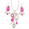 Pink Enamel Geometric Pendant Necklace & Drop Earrings Set In Rhodium Plated Metal - 40cm Length/ 8cm extender