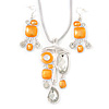 Bright Orange Enamel Geometric Pendant Necklace & Drop Earrings Set In Rhodium Plated Metal - 40cm Length/ 8cm extender