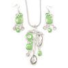 Light Green Enamel Geometric Pendant Necklace & Drop Earrings Set In Rhodium Plated Metal - 40cm Length/ 8cm extender