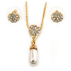 Clear Austrian Crystal Simulated Pearl Pendant with Gold Tone Chain and Stud Earrings Set - 46cm L/ 5cm Ext - Gift Boxed