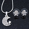 Clear Austrian Crystal Moon Pendant With Silver Tone Chain and Stud Earrings Set - 40cm L/ 5cm Ext - Gift Boxed