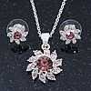 Clear/ Purple Austrian Crystal Flower Pendant With Silver Tone Chain and Stud Earrings Set - 40cm L/ 5cm Ext - Gift Boxed