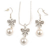 Clear Austrian Crystal Glass Pearl Bow Pendant with Silver Tone Chain and Drop Earrings Set - 40cm L/ 5cm Ext - Gift Boxed