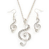 Diamante 'Treble Clef' Pendant With Long Silver Tone Chain & Drop Earrings Set - 72cm Length/ 4cm Extension