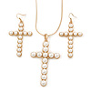 Large Faux Pearl Cross Pendant With 74cm L/ 6cm Ext Gold Tone Chain & Drop Earrings -
