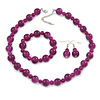 Violet Purple Marble Colour Ceramic Bead Necklace, Flex Bracelet & Drop Earrings Set In Silver Tone - 40cm L/ 5cm Ext