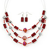 3 Strand Red, Silver Glass Bead Wire Necklace & Drop Earrings Set In Silver Tone - 44cm Length/ 5cm Extension