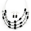 3 Strand Black Glass Bead Wire Necklace & Drop Earrings Set In Silver Tone - 44cm Length/ 5cm Extension