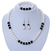 Classic 9mm Glass Pearl, Black Crystal Bead Necklace, Flex Bracelet & Drop Earrings Set - 42cm Length/ 4cm Extension