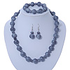 Light Grey Marble Colour Ceramic Bead Necklace, Flex Bracelet & Drop Earrings Set In Silver Tone - 40cm Length/ 5cm Extension