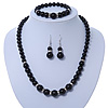 Black Ceramic Bead Necklace, Flex Bracelet & Drop Earrings With Crystal Ring Set In Silver Tone - 44cm Length/ 6cm Extension