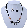 Black, Crystal Floral Necklace On Suede Cords & Drop Earrings Set In Gold Tone - 42cm Length/ 7cm Extender