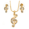 Clear Austrian Crystal Treble Clef Pendant With Gold Tone Chain and Stud Earrings Set - 46cm L/ 5cm Ext - Gift Boxed