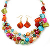 Multicoloured Shell, Glass Bead Floral Necklace & Drop Earrings In Gold Plating - 40cm L/ 7cm Ext