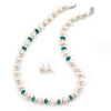 Off Round Cream Freshwater Pearl with Turquoise Bead Necklace and Stud Earrings Set In Silver Tone - 44cm L/ 8mm D