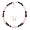 Pink/ Purple Faceted Glass Bead Necklace And Drop Earrings Set In Silver Tone - 42cm L/ 5cm Ext