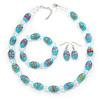 Light Blue Glass 'Grapes' Beaded Necklace, Flex Bracelet And Drop Earrings Set In Silver Tone - 44cm L/ 5cm Ext