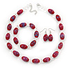 Cranberry Glass 'Grapes' Beaded Necklace, Flex Bracelet And Drop Earrings Set In Silver Tone - 44cm L/ 5cm Ext
