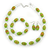 Lime Green Glass 'Grapes' Beaded Necklace, Flex Bracelet And Drop Earrings Set In Silver Tone - 44cm L/ 5cm Ext