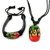 Black Bob Marley 'One Love' Pendant With Waxed Cotton Cord and Bob Marley Leather Bracelet Set - Adjustable